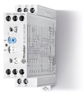 83.52.0.240.0000 | 835202400000 | Мультифункциональный модульный таймер; Функции: AE, EEa, FE, GE, IT, BEp, DEp, SHp; 2 перекидных контакта 12A; (~/= 24-240В AC/DC)