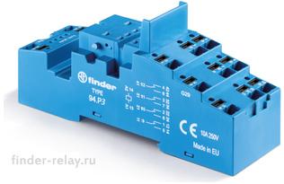 94.P3SPA | 94P3SPA | Розетка с клеммами Push-in для реле  55.33, 85.03 и модулей 99.02, 86.30 с раздельными контактами; с пластиковым фиксатором; синяя; 10А