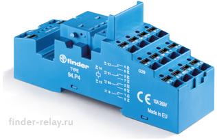 94.P4SPA | 94P4SPA | Розетка с клеммами Push-in для реле 55.34, 55.32, 85.02, 85.04 и модулей 99.02, 86.30 с раздельными контактами; с пластиковым фиксатором; синяя; 10А